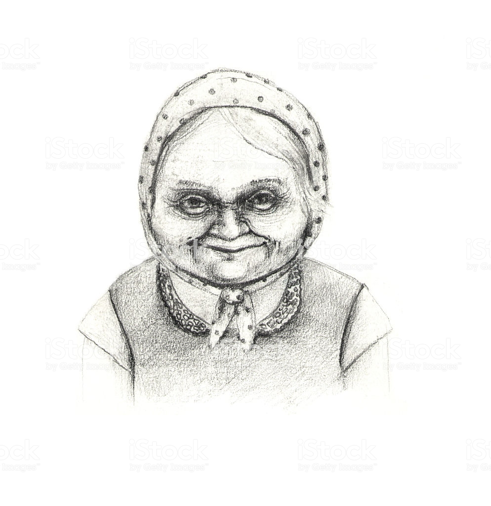 Kind granny pencil drawing