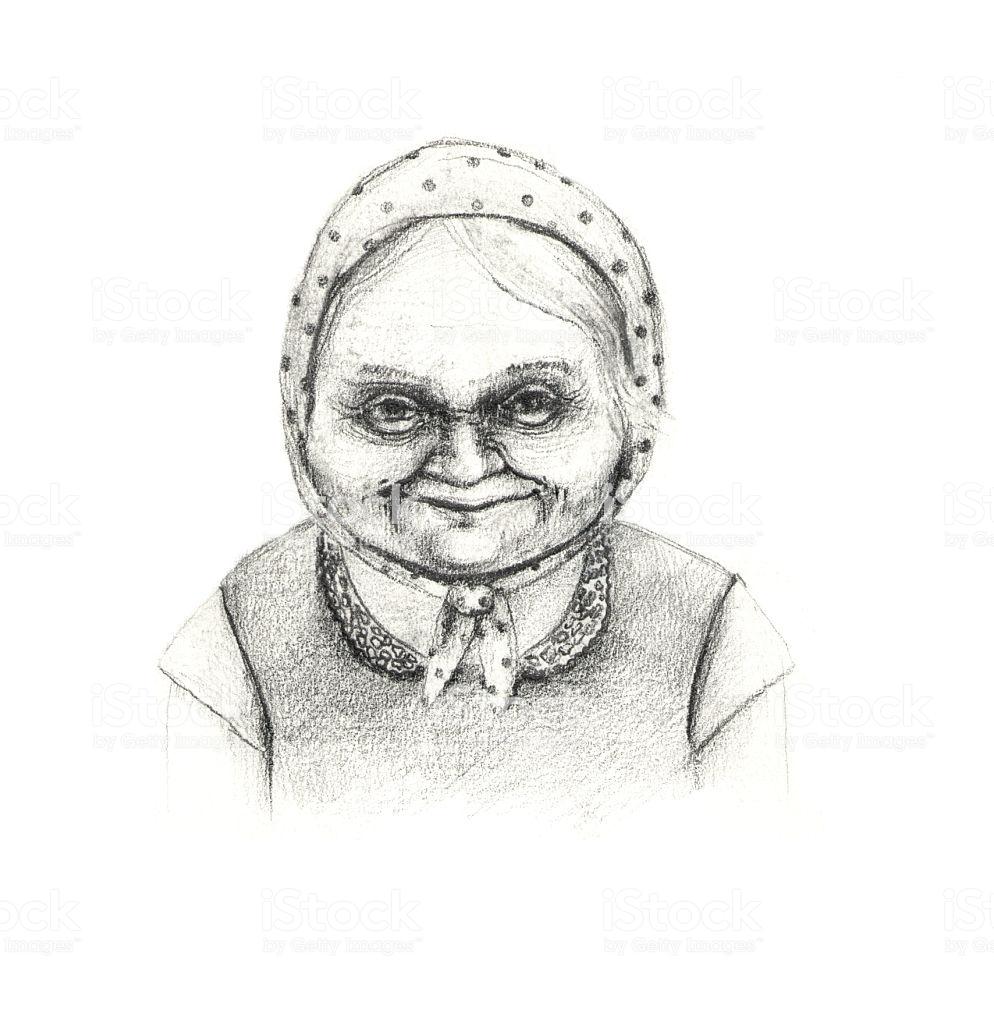Kind granny pencil drawing